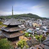 Chugoku - Onomichi. Onomichi, Japan - town in the region of Chugoku. Aerial view with a pagoda stock photo