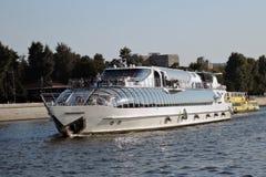 Chuise ship Felicita sails on the Moscow river Stock Photos
