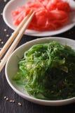 Chuka salad and pickled ginger macro. vertical Stock Image