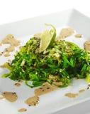 Chuka Seaweed Salad. Japanese Cuisine - Chuka Seaweed Salad with Nuts Sauce. Served with Lime and Sesame Royalty Free Stock Photography