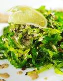 Chuka Seaweed Salad. Japanese Cuisine - Chuka Seaweed Salad with Nuts Sauce. Garnished with Lime and Sesame Royalty Free Stock Images