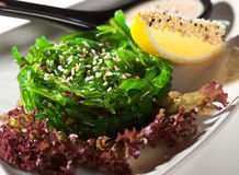 Chuka Seaweed Salad. Japanese Cuisine - Chuka Seaweed Salad with Nuts Sauce. Served with Lemon and Sesame Royalty Free Stock Image
