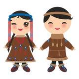 Chukcha jakuta eskimosy chłopiec, dziewczyna w i Kreskówek dzieci w tradycyjnej Alaska sukni Odizolowywający na białych półdupkac Ilustracja Wektor