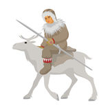 The Chukchi astride a deer Royalty Free Stock Image