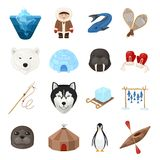 Chukchi cartoon set Royalty Free Stock Photo