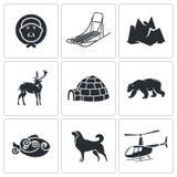 Chukchi et les icônes du nord lointaines de vecteur réglées Photo stock