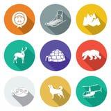 Chukchi et les icônes du nord lointaines réglées Illustration de vecteur Images stock