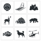 Chukchi and the Far North Vector Icons Set Stock Photo