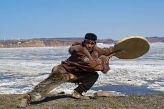 Chukchi folk dance. Chukchi man dancing a folk dance Stock Photo