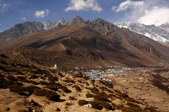 Chukhung village at the foot of Nagarsthang peak. Royalty Free Stock Photo