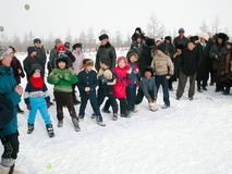 Chukotka i Bilibino, Chukchi Händelser och handel, nationella kläder ganska vinter fotografering för bildbyråer