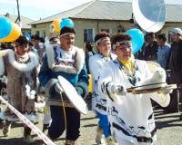 Chukotka i Bilibino, Chukchi Händelser och handel, nationella kläder arkivfoton