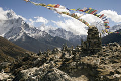 Chukpilhara Memorials - Nepal. On the trail between Duglha and Lobuche is a memorial area for climbers known as Chukpilhara. Most memorials are for sherpas and Royalty Free Stock Images
