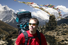 Chukpilhara Memorials - Nepal. On the trail between Duglha and Lobuche is a memorial area for climbers known as Chukpilhara. Most memorials are for sherpas and Stock Photos