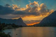 Chukurak lake at sunset Royalty Free Stock Image
