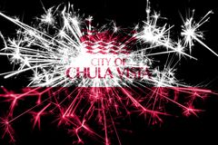 Chula Vista, California fireworks sparkling flag. New Year 2019 and Christmas party concept. Chula Vista, California fireworks sparkling flag. New Year 2019 and royalty free stock images