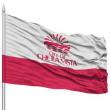 Chula Vista City Flag on Flagpole, USA. Chula Vista City Flag on Flagpole, California State, Flying in the Wind, Isolated on White Background Royalty Free Stock Image
