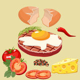 Chuleta con el huevo ilustración del vector