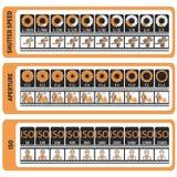 Chuleta de la fotografía Manual del ` s de la cámara ISO, velocidad de obturador, ap Fotos de archivo libres de regalías