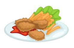 Chuleta del pollo con las patatas fritas salsa de tomate y lechuga en la placa ilustración del vector