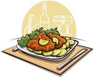 Chuleta del Schnitzel con la patata hervida ilustración del vector