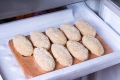Chuletas crudas en el congelador Comida congelada Productos semielaborados foto de archivo libre de regalías