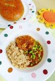 Chuletas de cerdo, comida de la quinoa Fotografía de archivo libre de regalías