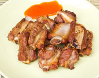 Chuletas de cerdo fritas imagenes de archivo
