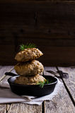 Chuletas de la carne picadita y del arroz Imagen de archivo libre de regalías