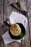 Chuletas de la carne picadita y del arroz Foto de archivo