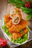 Chuletas quebradizas de la patata con la carne, las setas y el queso Foto de archivo
