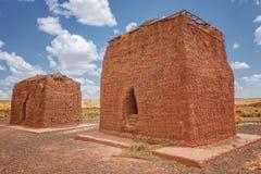 Chullpas or burial towers at Huanuni Cachu near valley near Sajama National Park, Bolivia stock photography