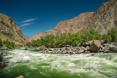 Chulyshman river is doing sprint on the direct site, Altai mountains, Siberia, Russia.  stock image