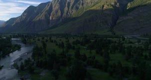 Chulyshman-Tal, Sommerschuß auf Brummen, Altai, Russland 4 stock footage