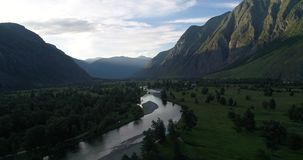 Chulyshman Valley, summer shot on drone, Altai, Russia