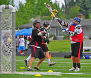 Chumash Lacrosse shot on goal stock image