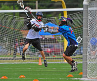 Chumash Lacrosse Shot on goal Stock Photos