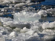 Chunck of ice floating. On a river in winter Royalty Free Stock Photo