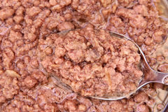 Chunck tuna. Chunck light tuna texture background Stock Image