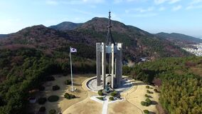 Chunghontap Pagoda in Central Park, Busan, South Korea, Asia. When Mar-14-2018. Chunhontap is Monument for the war dead stock video footage