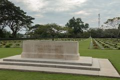 Chungkai war cemetery in Thailand, where thousands of Allied POWs who died on the Thailand - Burma death railway are buried. Chungkai war cemetery, where Royalty Free Stock Photography
