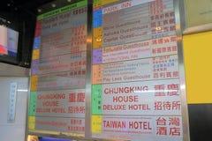 Chungking dwory hotelowy buduje Hong Kong fotografia stock