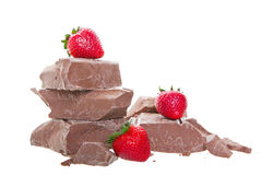 Chunk Chocolate With Strawberries Royalty Free Stock Photography