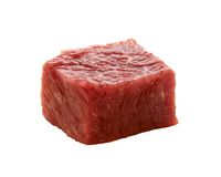 Chunk of raw red meat. Isolated on white royalty free stock photography