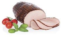Chunk of smoked ham isolated on white background royalty free stock photo