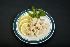 Chunk Tuna on Plate Stock Photo