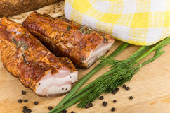 Chunks of bacon, onion, dill, pepper Stock Image