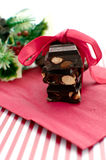 Chunks chocolate christmas gift with copy space Royalty Free Stock Photos