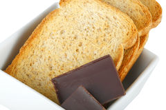 Chunks chocolate with crispbread Royalty Free Stock Photos