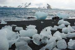 Chunks of ice on the coast of Antarctica stock image